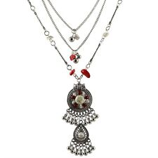 Silver Multi-layered Amulet Statement Necklace With Beads And Stones UK SELLER