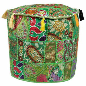 Indian Pouffe Round Throw Pillow Cover Footstool Floor Patchwork Embroidered