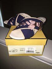 FENDI Navy/Pink Bow Knit Leather Flat Sandals Slides, Size 39/9 US