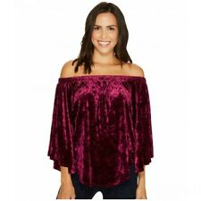NWT KAREN KANE Women's Top Off Shoulder Velvet Wine Color Size: L