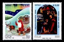 Weihnachten.Weihnachtsmann mit Rentierschlitten,Christi Geburt. 2W.Italien 1999
