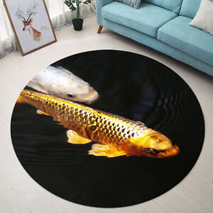 Gold Koi Carp Fish Swim Pond Black Round Floor Mat Bedroom Living Room Area Rugs