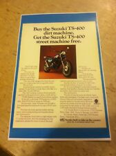 Vintage Suzuki TS400 Dirtbike Poster Advertisement Man Cave Art Christmas Gift