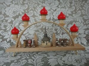 Vintage Seiffen Erzgebirge  --Arched 5 Candleholder - CHRISTMAS Village w/Church