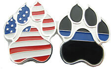 Mini American Flag K9 Paw Challenge Coin with Thin Blue Line - Dog Handler