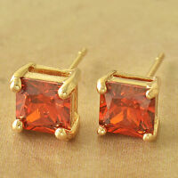 Womens Ladys 14K Yellow Gold Filled Square Red Ruby Stud Earrings free shipping