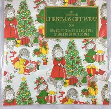 Vintage Hallmark Cards Christmas Gift Wrapping Wrap Paper Holly Hobby Type