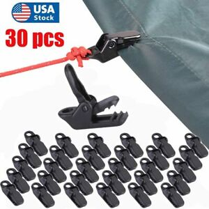 30pcs Reusable Tent Tarp Tarpaulin Clip Clamp Buckle Camping Tool Heavy Duty USA