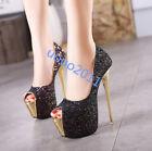 Womens Sexy open toe sequins slip pn platform stilettos high heels shoes party