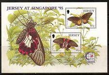 JERSEY MNH UMM STAMP SHEET 1995 SG MS722 EXOTIC BUTTERFLIES SINGAPORE '95