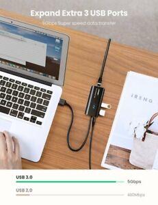 USB 3.0 HUB 3 Port with Gigabit Ethernet Adapter 1000Mbps PC MAC Nintendo Switch