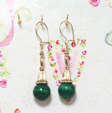 Malachite With 14K Gold Earrings. 1.75 Inches Long. MC14K005