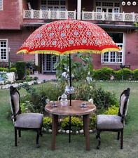 Silk zari embroidered red color garden umbrella big sun protect patio parasol