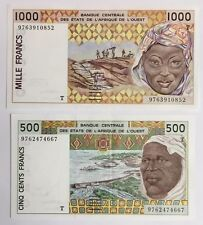 500 & 1000 Francs West African Banknotes. 2 Note Set