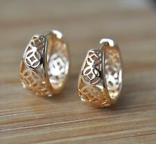 18k/18ct Yellow Gold Filled Patterned 14mm Huggie Hoop Earrings
