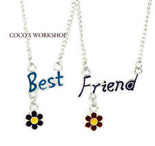 QUALITY ADORABLE FLOWER BEST FRIEND WORDS 5.1cm 1 PENDANT NECKLACE SET GIRL GIFT