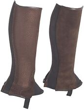 Genuine Suede Leather with Mesh and Back Zip Horse Riding Chaps - Brown