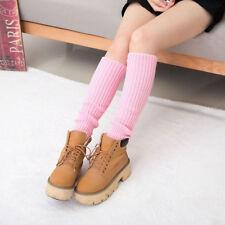 Girls Winter Warm Leg Warmers Cable Knit Knitted Crochet Plush Long Socks JI