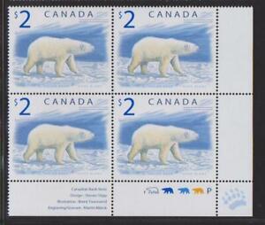 1998 Canada SC# 1690 LR - Wildlife Polar Bear - Plate Block M-NH Lot # 3422d