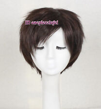 cosplay wig short Thick dark brown hair full wigs +a wig cap