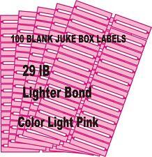 100 BLANK JUKE BOX (LABELS) (LT PINK)  29 IB Lighter Bond FOR 45s NO S & H