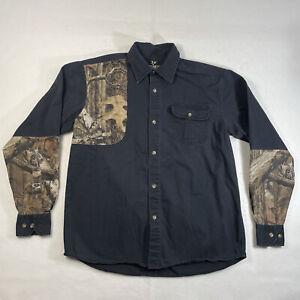 Outdoor Life Mens M Medium Black Camouflage Long Sleeve Hunting Shirt Butt Pad