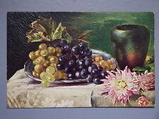 R&L Postcard: Grape, Flowers Fruit Still Life Art Study, Textured