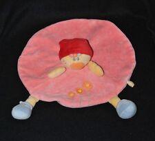 Peluche doudou poupée plat rose Babette NATTOU AUBERT fichu rouge fleurs TTBE