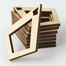 ALL SIZES BULK (12pc to 100pc) Unfinished Wood Diamond Frame Earrings Blanks