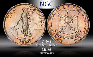 1958 PHILIPPINES 10 CENTAVOS NGC MS 66 ONLY 1 GRADED HIGHER*