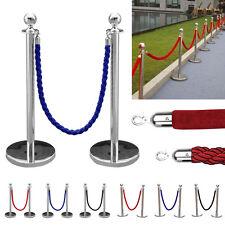 More details for 2pc polished steel queue rope barrier velvet rope stanchion posts stands 3 color