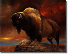 Old West Buffalo Face/Sky16x20 Ruane Manning Wall Art Print Picture sku#16-8009