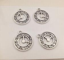 6pcs Tibetan Silver clock Charm Pendant Bead Jewellery Making 18mm