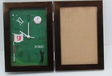 "Golf Desk Clock Photo Frame Combination, Mantel, Desk Shelf Clock 3"" x 5"" Photo"