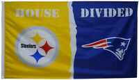 Pittsburgh Steelers vs New England Patriots House Divided Flag 3x5 ft NFL Banner