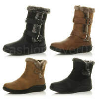 WOMENS LADIES FLAT LOW HEEL FUR LINED CUFF ZIP WINTER GRIP ANKLE BOOTS SIZE