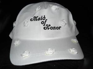 Maid of Honor Bride Baseball Cap White with Rosebuds Reception Bridal Shower New
