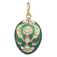 Faberge Egg Pendant / Charm with crystals 2.2 cm green #0803