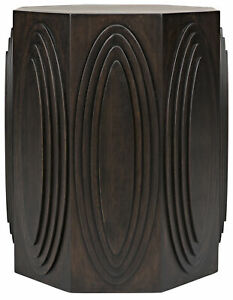 """26"""" H Carved Side Table Ebony Walnut Hardwood Architecture Gothic Rustic Octagon"""