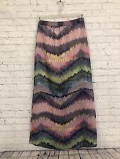 Olive & Oak Multicolor Indigo Long Sheer Maxi Skirt Women's Size XS