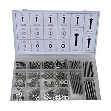 246pc Nuts & Bolts & Washers M3 M4 M5 M6 Grade 201Stainless Steel in Organiser