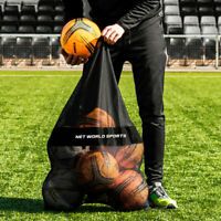 12 Ball Carry Bag - Heavy Duty Black Mesh Net Football Shoulder Carry Holdall
