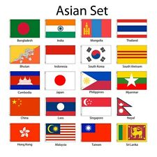 Asia Asian 3x5 Flag Set of 20 Country Countries Polyester Flags grommets