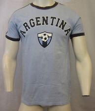 ARGENTINA SOCCER 1993 RINGER CREW NECK T SHIRT SIZE SMALL BLUE VIC-THOR1