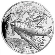 1 $  Boomerang Fighter Aircraft Ultra High Relief Niue Island 1 oz Silber