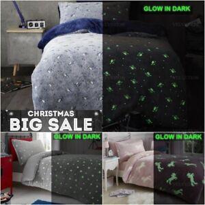 Glow In The Dark Teddy Fleece Duvet Cover Set Soft Warm Kids Adult Bedding Quilt