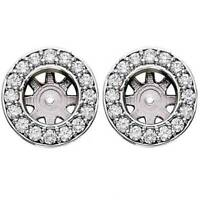 3/4ct Halo Round Diamond Studs Earring Jackets White Gold (6-6.5mm)
