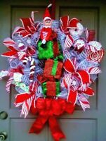 """30"""" Christmas Elf Deco Mesh Wreath Elf on a Stack of Gifts with Candy Door Decor"""