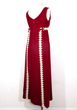 Vintage RED VELVET DRESS Mod Maxi Crochet Gothic 1960s Train Formal Sleeveless S