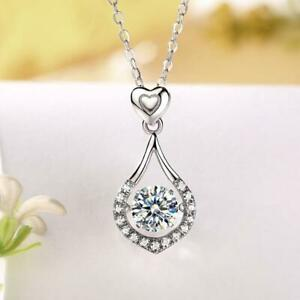 Sterling Silver Necklace, 1 Carat Moissanite Diamond Dancing Stone